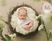 Baby Headband, Baby Girl Headband, Newborn Headband, Christening Headband, Baptism Headband, Lace Headband, Newborn Girl, Prop Headband