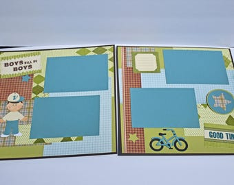 "Boys will be Boys -  12"" x 12"" Premade Double Scrapbook - Cricut and Paper Piecing, 4 Photo Mats for Pictures"