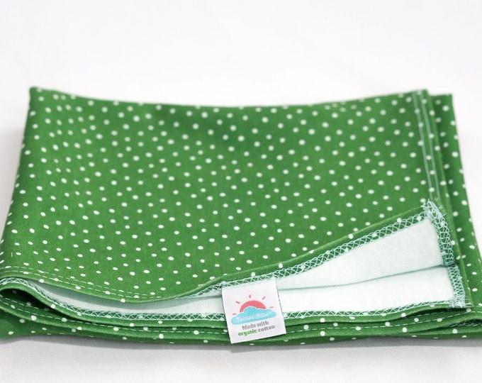 small | green polka dot | organic cotton t-shirt hair towel