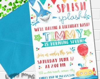 Under The Sea Invitation Pool Party Invitation Under The Sea Birthday Party Printable Invitation Watercolor Summer Birthday Invitation Shark