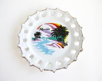 Vintage Florida Wall Plate, Coastal Beach Decor