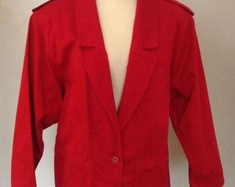 Red Denim Blazer Jacket with Epaulettes for Women - Size 12