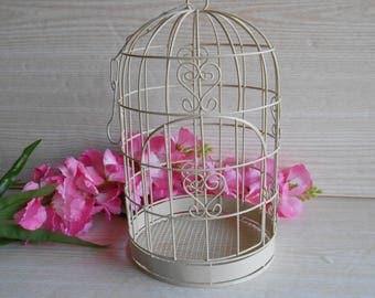 Vintage decorative metal birdcage, Table decor, Shabby home decor, Garden decor, Wedding card holder