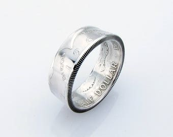Kennedy Half Dollar Coin Ring, JFK, SILVER, Unique Engagement Ring, Wedding Ring, Coin Jewelry, Mens, Band, Mans, Rings