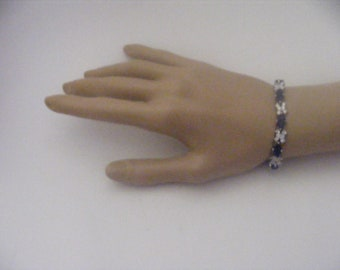Vintage Silvertone Crystal and Simulated Sapphire Bracelet