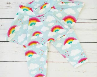Rainbow skirted leggings, age 6 months.