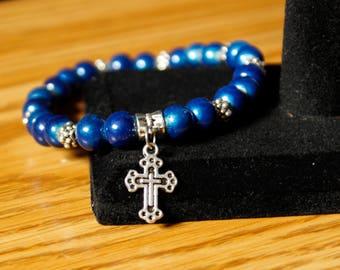 Blue and Silver Cross Beaded Bracelet