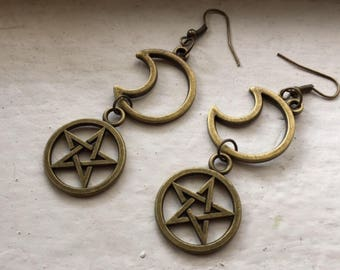 Antique bronze metal pentagram crescent moon luna star pagan wiccan witchy celestial earrings