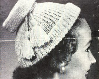 Vintage knitting pattern 1950's Bestway A2578 Polo mode hats with 12 variations DK 3 ply