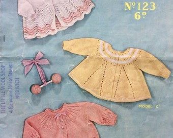 Vintage knitting pattern 1940's Sirdar Sunshine 123 baby's matinee coats birth-6 months 3 ply