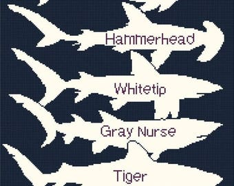 Comparison of sharks Cross Stitch Pattern Pdf sharks pattern point de croix -188 x 335 stitches - INSTANT Download - B1028