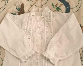 Antique Victorian top/bed jacket white hand made embroidery pure  cotton Child size or petite small For collector,costume, clothing
