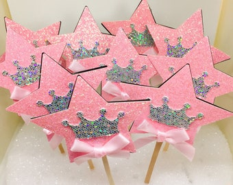 Princess Cupcake Toppers, Star Toppers, Crown Toppers, Cupcake Decoration, Glitter Toppers, Party Decor, Sweet Sixteen, Bridal Shower