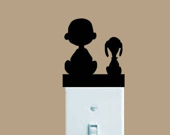 Charlie Brown decal, Snoopy decal, FREE SHIPPING, light switch decal, Snoopy decor, home decor decal, Peanuts gang, home accessories #116