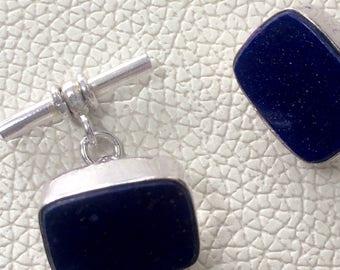 Lapis Lazuli  925 cuff links 16 x 8 mm approx chain link