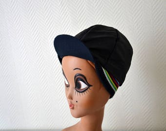 Vintage french cycling cap / cycle striped cap