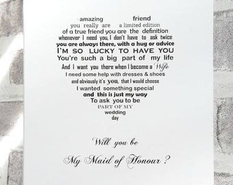 Will you be my Maid of Honour card, Maid of Honour request