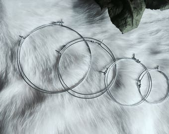 Minimal Silver Hoops + 2 texture options