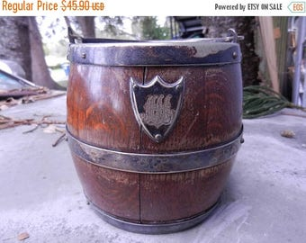 Easter Sale Antique English Oak Barrel Ice Bucket Presentation Monogram