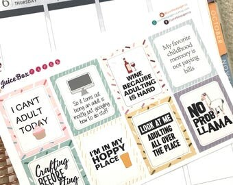 Adulting - Cannot Adult Today - Stickers for various planners, journals, calendars