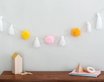Pom Pom garland, tassel garland, Pom Pom, tassel, nursery decor, living room decor, pink garland, babies room, nursery decor, baby bunting