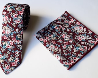 Burgundy Floral Neck Tie for Men and Matching Pocket Square