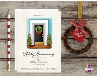 Wreath Holiday Housewarming Party Front Door Invitation Printable