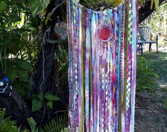 Gypsy Hippie Boho Rainbow Tye Dye Dream Catcher Wall Hanging