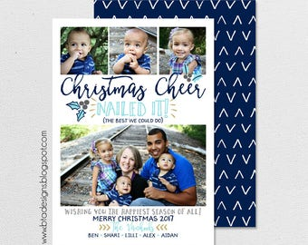 Merry and Bright Christmas Card, Holiday Card, New Year's Card, Digital Design, Photo Christmas Card #7