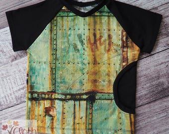 5T - Short Sleeve Pocket T-shirt - Concrete City Graffiti Steel Junk Construction - Canadian - Forth Fifth Birthday - Baby Shower Gift