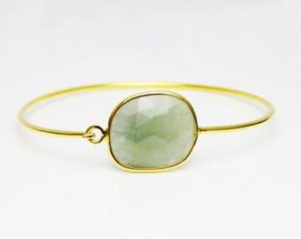 Aquamarine Bangle Bracelet- BridesMaid Gift - Gemstone Bracelet- March Birthstone Bracelet