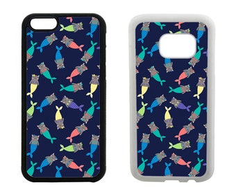 Rubber case iPhone 6S 6 7 8 Plus X SE 5S 5C 5 4S, Samsung Galaxy S8 Plus, S7 S6 Edge Note 5 S5 S4, cat mermaid bumper phone cover gift  R382