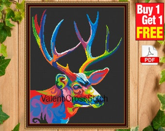 Modern Deer Cross Stitch Pattern, Modern Cross Stitch Pattern,  design, Count Cross Stitch Deer,  #sp 193