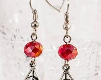 25% OFF Red Crystal Gryffindor Charm Earrings - Gryffindor Earrings - Harry Potter Earrings - Deathly Hallows Earrings - Red Earrings