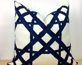 Blue, Navy and White Cyrus Cane Pillow Cover -  Choose 1 SIDED OR 2 SIDED - Designer - Thibaut - High End - Trellis - Lattice - Bamboo