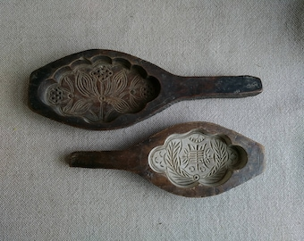 Antique Wood Butter Molds Hand-carved Butter Mold Paddles Set of Two Vintage Handmade Wood Butter Molds
