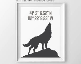 Dog Owner Gift For Dog Owner Custom Home Coordinates Wall Art Wolf Art Print Howling Wolf Dog Wall Decor Dog Lover Gift Dog Wall Art