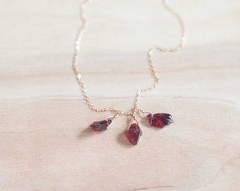 Rough Garnet Necklace on Sterling Silver or Rose Gold Filled Chain, Gemstone Cluster Necklace, Raw Garnet Crystal Jewelry, Oxidized