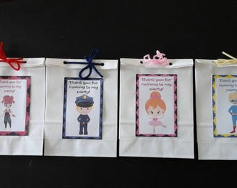 Paper favor bags-Match cupcake toppers-Ballerinas=Superhero boys=Pirate Girls=Police