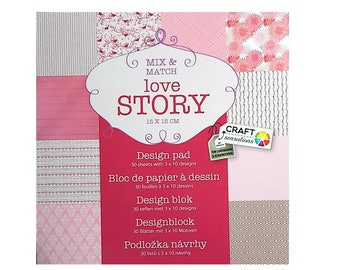 Pattern paper for scrapbooking block love story