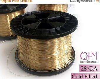 ON SALE 1 meter (3.28 feet) yellow gold filled wire, Thickness 28 GA (0.3mm) - also available in bulk (spools) - Soft gold filled wire 28 Ga