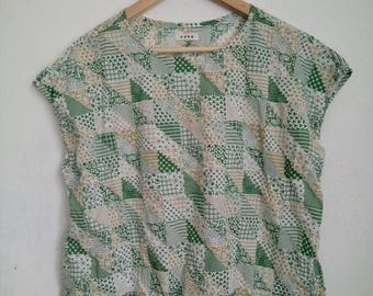 ON SALE 4 Vintage 90s Coen green floral square box womens baggy blouse