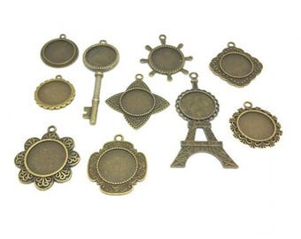 10 cabochon Bronze 20mm 10 models