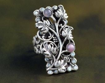 Secret Garden Ring, Garden Ring, Leaf Ring, Secret Garden, Silver Leaf Ring, Vintage Ring, Nature Ring, Yoga Ring, Vine Ring, Long Ring R544