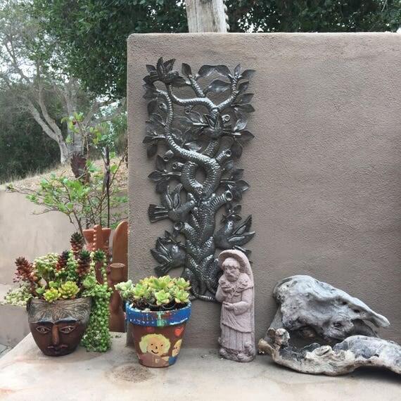 "Tree of Life, Birds,Haiti Metal Art, Hand Hammered Steel, Garden Art, Recycled Metal Barrel 12"" x 22"""