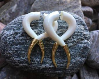 Bone Tribal Fake Gauge Earrings