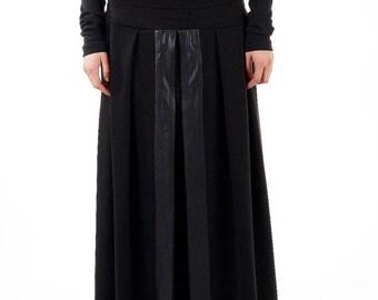 MEGA SALE Black maxi skirt / Faux Leather details skirt / Maxi skirt / Cotton long skirt / Long black skirt
