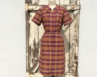 50s 60s JC Penney Maroon and Yellow Plaid Wiggle Dress XL 36 Waist