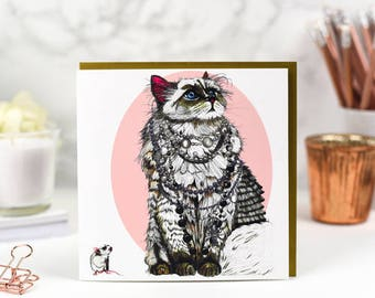 Cat card pack of 5 - Karl Lagerfeld and Choupette - Chanel - cat lover gift