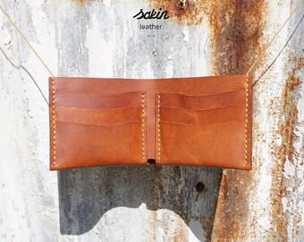 Sakin Leather Bifold Wallet Man Wallet Personalized Cardholder Handmade Gift